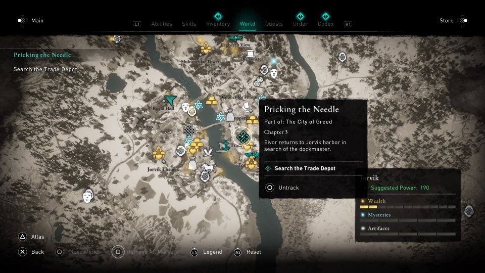 ac valhalla - pricking the needle guide