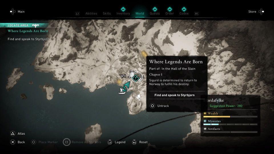 ac valhalla where legends are born quest
