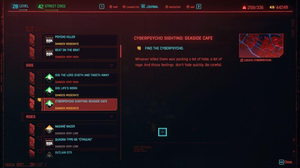 cyberpunk 2077 - seaside cafe (cyberpsycho sighting)