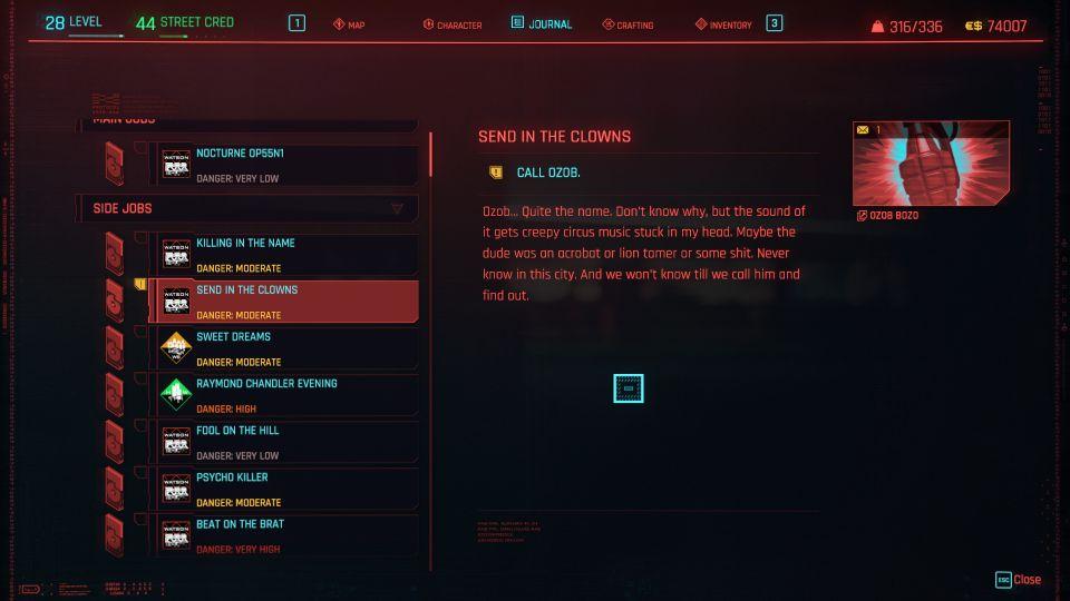 cyberpunk 2077 - send in the clowns