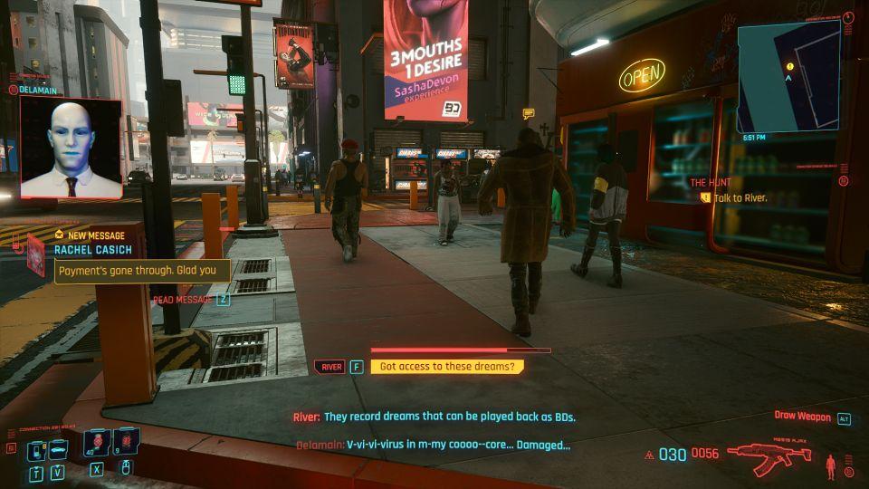 cyberpunk 2077 - the hunt braindance bug