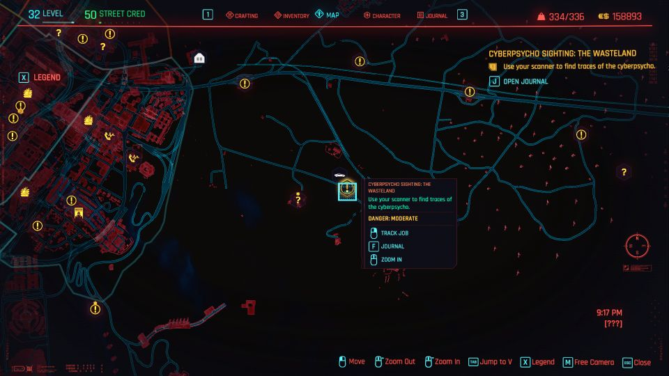 cyberpunk 2077 - the wasteland (cyberpsycho sighting) location