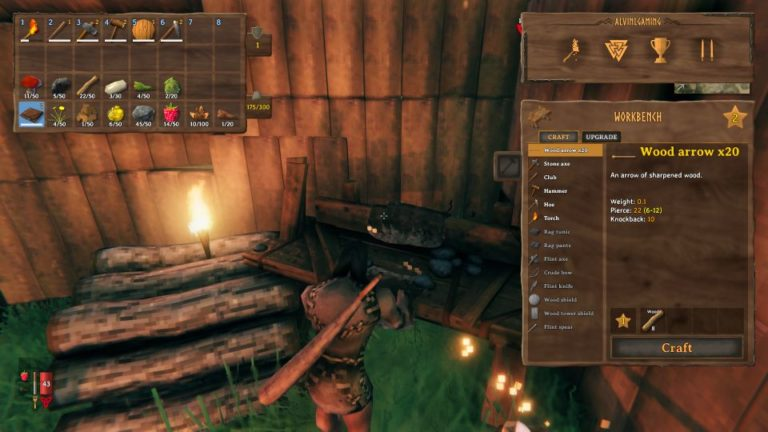 valheim bow and arrow how to craft